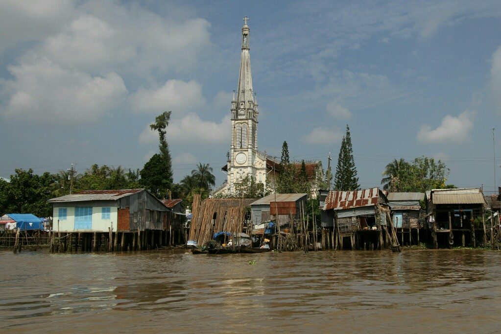 Pfahlbauten am Mekong