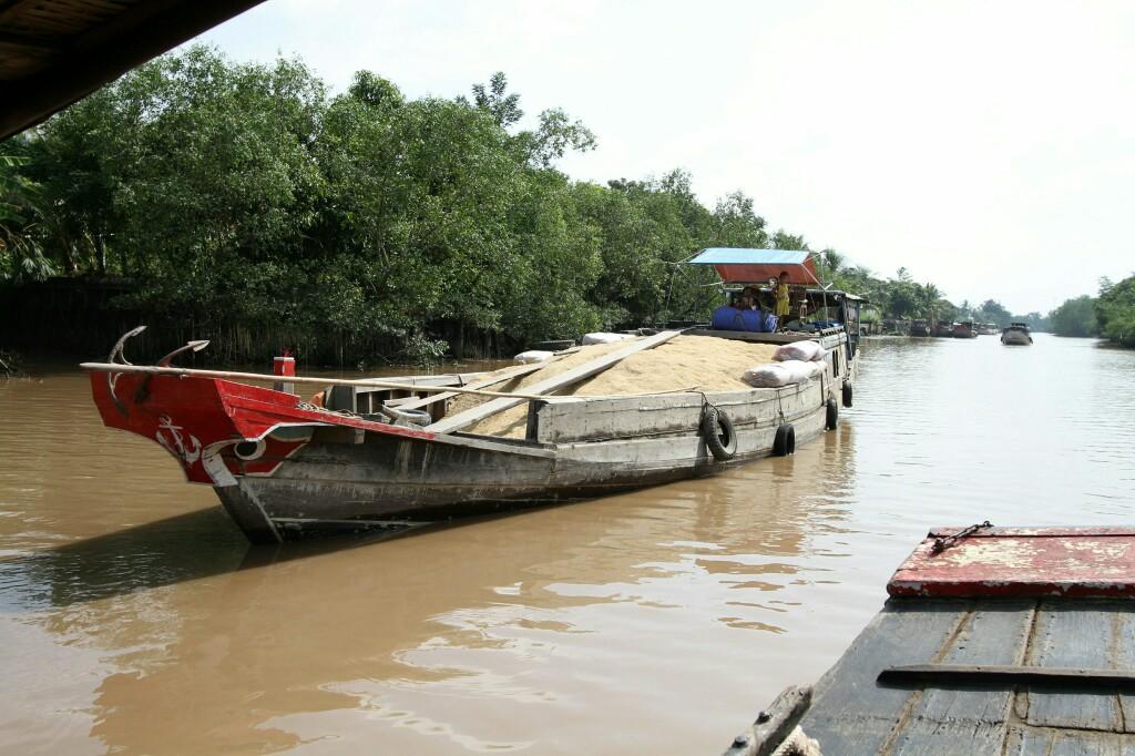Reistransport auf Mekong